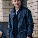 Paul Breeders Martin Freeman Blue Bomber Jacket