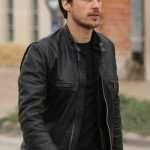Peter Gadiot Black Leather Jacket