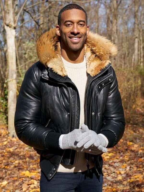 The Bachelor Matt James Black Leather Hooded Jacket
