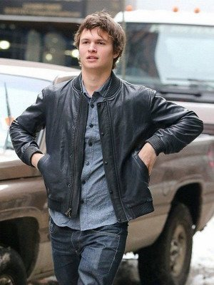 Ansel Elgort Black Leather Jacket