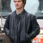 Ansel Elgort Black Leather Jacket