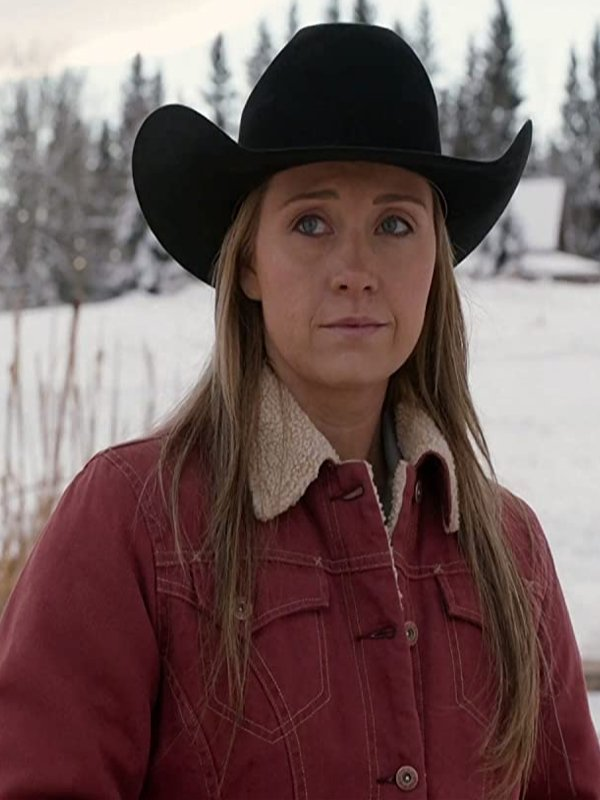 Heartland Season 14 Amy Fleming Red Shearling Jacket