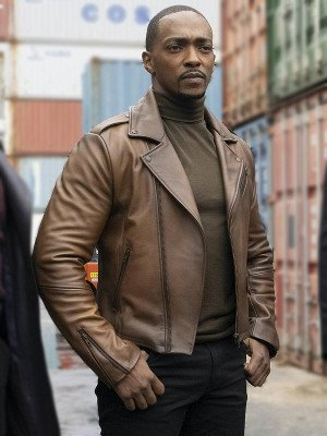 The Falcon and the Winter Soldier Anthony Mackie Brown Leather Jacket