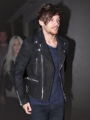 Louis Tomlinson Black Suede Motorcycle Jacket