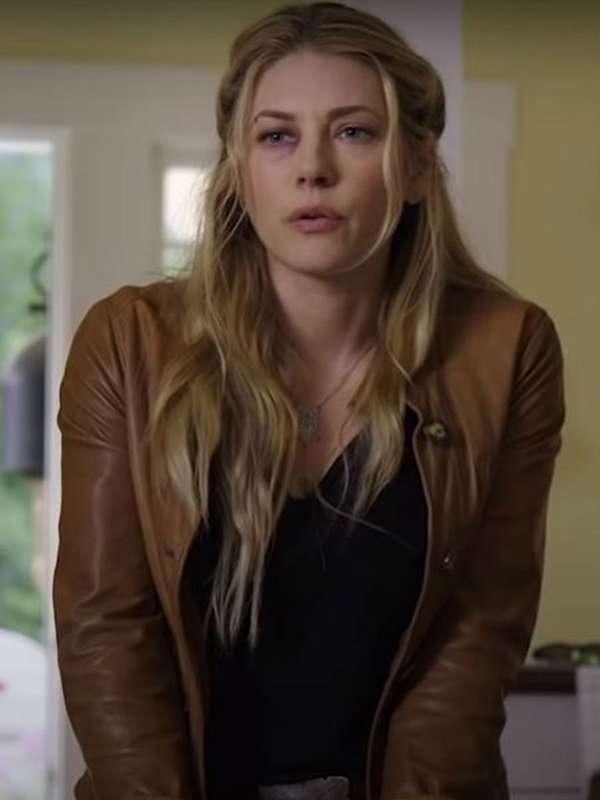 Katheryn Winnick Brown Leather Jacket