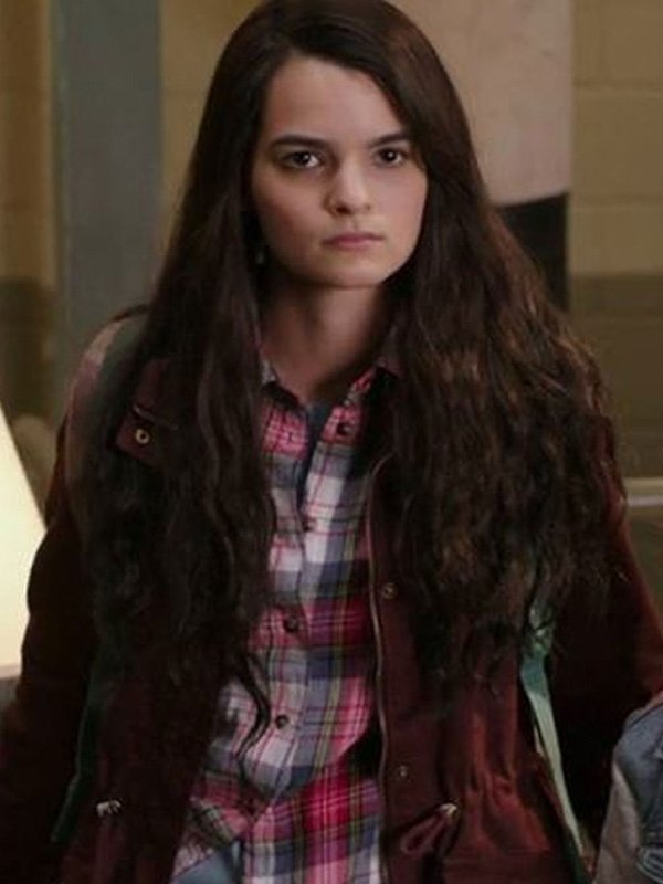 Playing with Fire Brianna Hildebrand Maroon Jacket