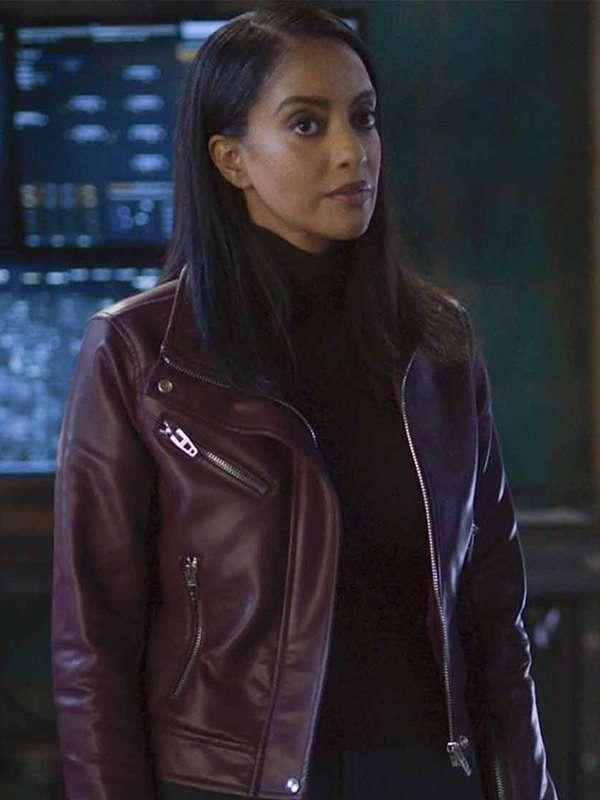 Supergirl Azie Tesfai Maroon Leather Jacket