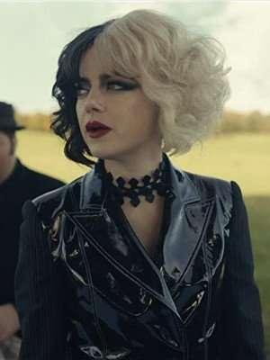 Emma Stone Cruella Black Faux Leather Jacket
