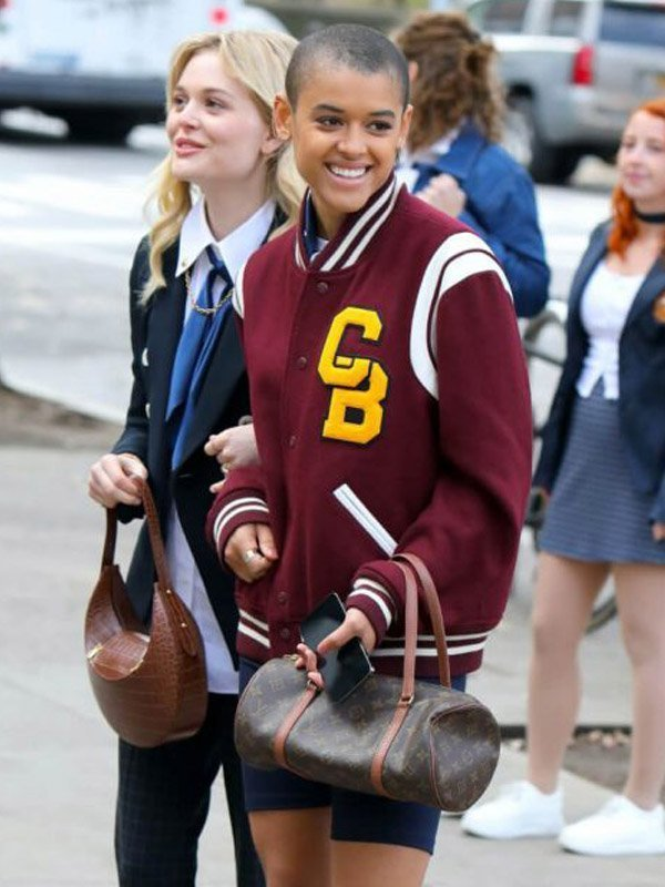 Gossip Girl Jordan Alexander Maroon Varsity Jacket