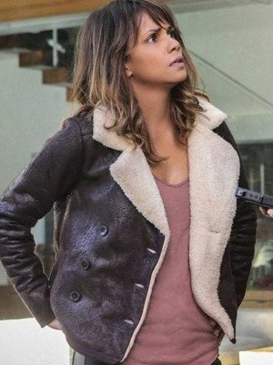 Halle Berry Brown Aviator Leather Jacket