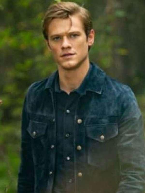 Lucas Till MacGyver Blue Leather Jacket