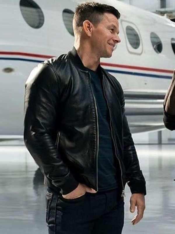 Mark Wahlberg Infinite Black Bomber Leather Jacket