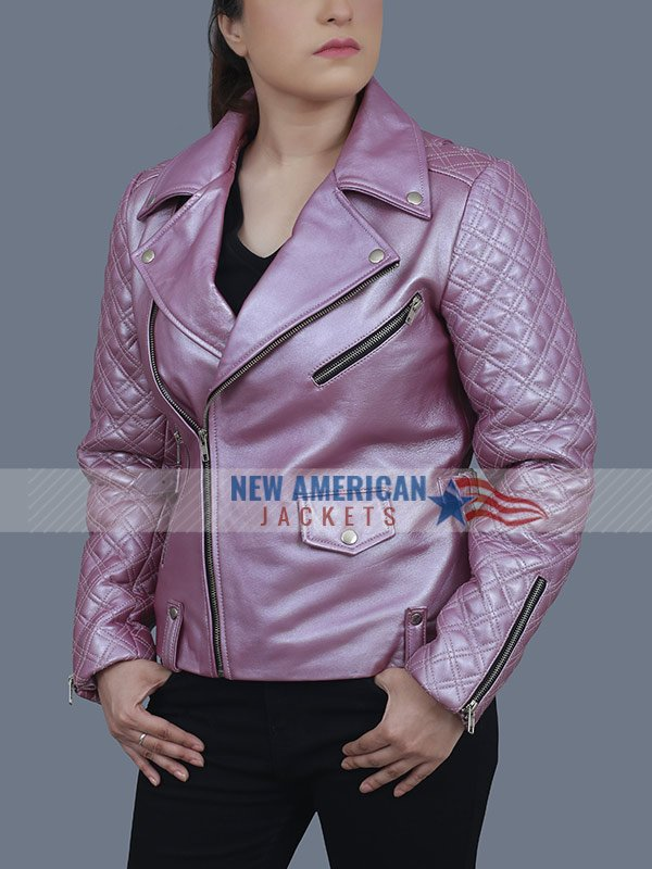 Sex Life Sarah Shahi Pink Motorcycle Leather Jacket