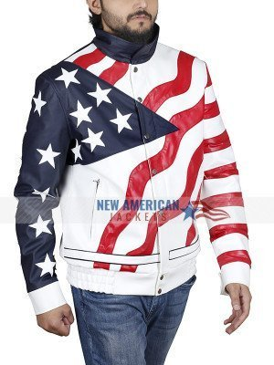 Vanilla Ice American Flag Motorcycle Leather Jacket