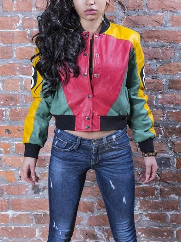 8 Ball Pool Tri-color Leather Bomber Jacket