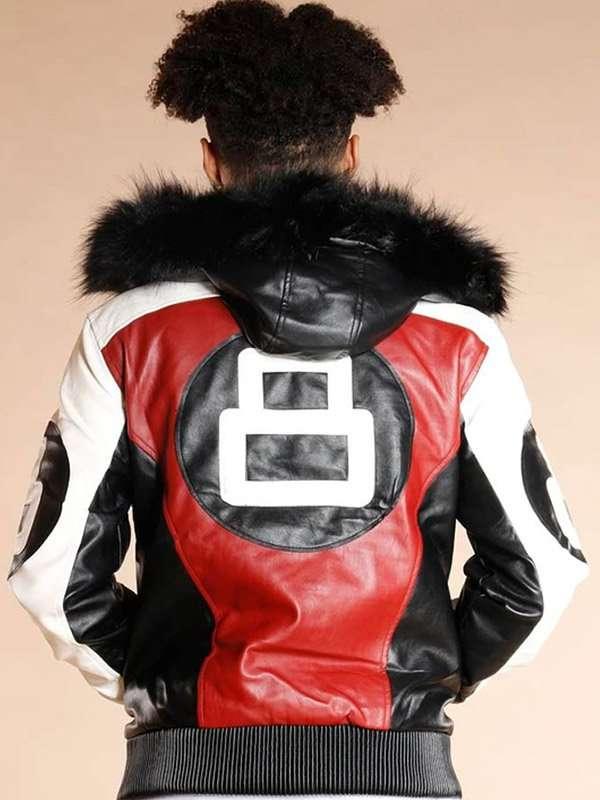 8 Ball Shearling Hooded Jacket
