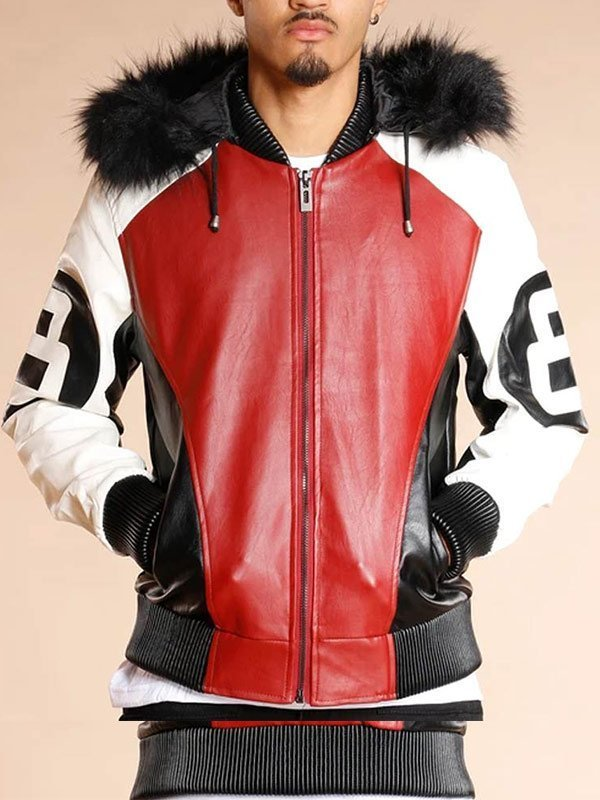 8 Ball Shearling Leather Hooded Jacket