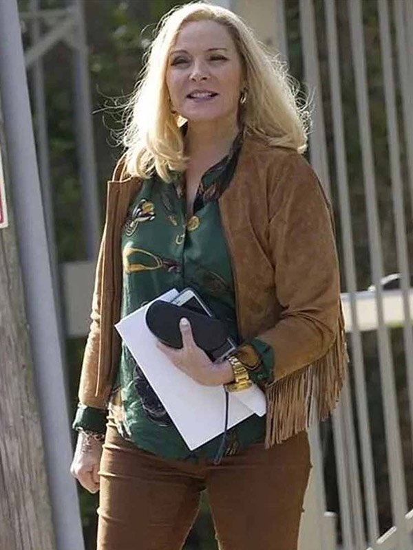Filthy Rich Kim Cattrall Brown Jacket
