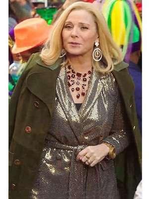 Filthy Rich Kim Cattrall Green Coat