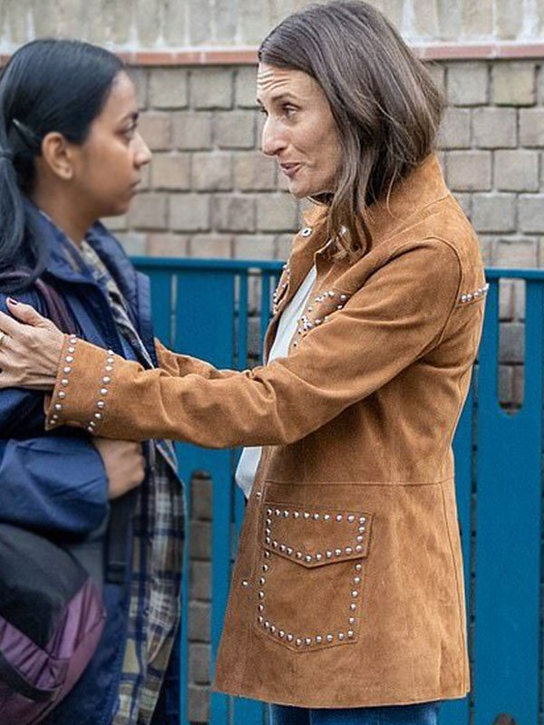 Killing Eve Camille Cottin Suede Leather Jacket