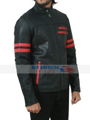 Mens Red Stripes Motorcycle Quilted Leather Jacket