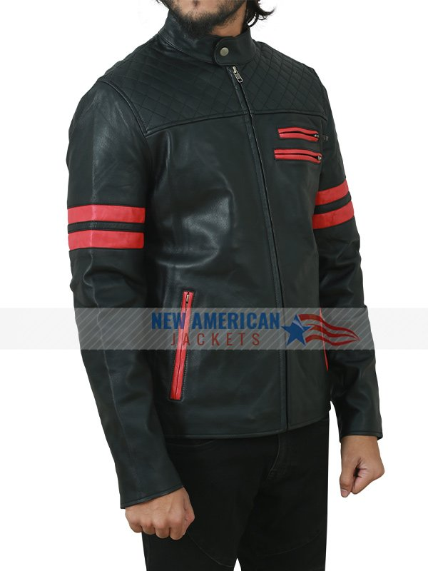 Black Motorcycle Red Strips Leather Jacket