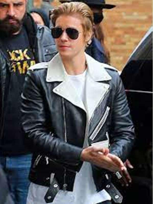 Justin Bieber Black & White Leather Jacket