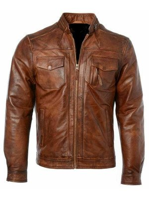 Mens Genuine Motorcycle Distressed Cafe Racer Leather Jacket