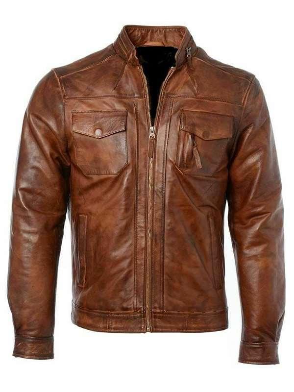 Mens Biker Distressed Motorcycle Genuine Leather Jacket