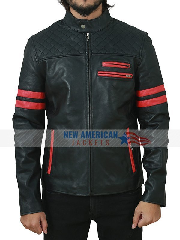 Mens Cafe Racer Black Leather Jacket with Red Strips