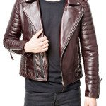 Mens Real Leather Quilted Motorcycle Leather Jacket