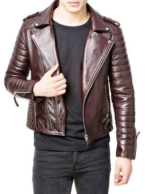 Mens Genuine Maroon Quilted Leather Jacket