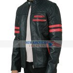 Mens Red Strips Motorcycle Quilted Leather Jacket
