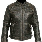 Mens Retro Style Racer Distressed Vintage Biker Leather Jacket
