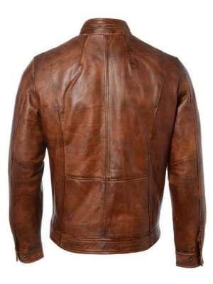Motorcycle Distressed Brown Racer Jacket