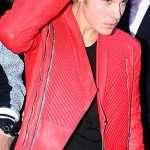 Singer Justin Bieber Red Leather Quilted Jacket