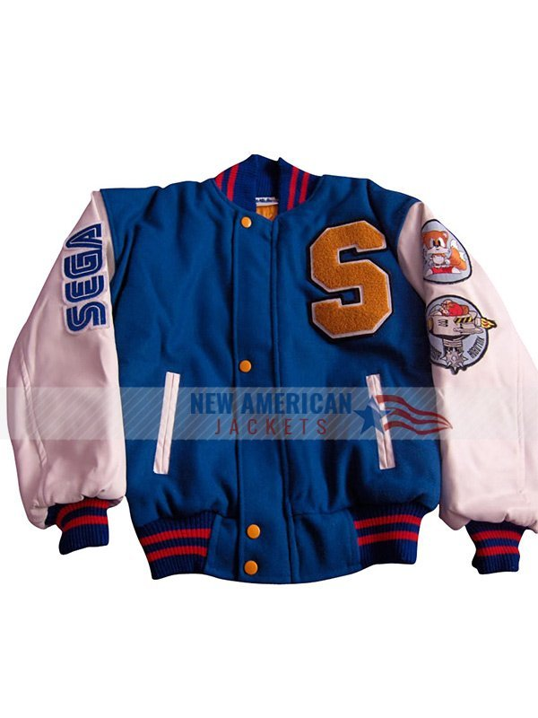 sonic the hedgehog blue and white bomber jacket