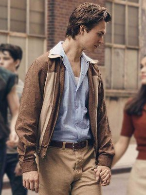 Ansel Elgort West Side Story 2021 Brown Jacket
