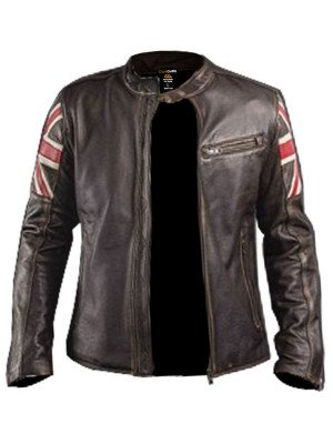 Men's Biker Vintage Style Motorcycle Cafe Racer Leather Jacket