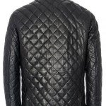 Black Quilted Leather Jacket for Men