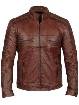 Men's Cafe Racer Brown Distressed Leather Jacket