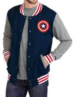 Captain America Blue Letterman Bomber Jacket