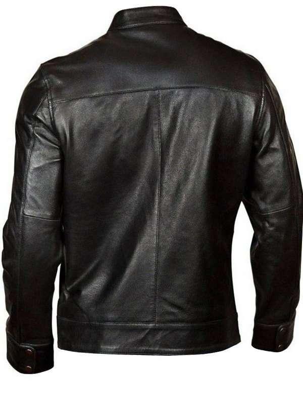 Classic Black Biker Leather Jacket For Men
