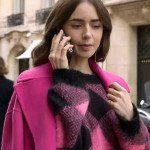 Emily In Paris Lily Collins Pink Woolen Sweater