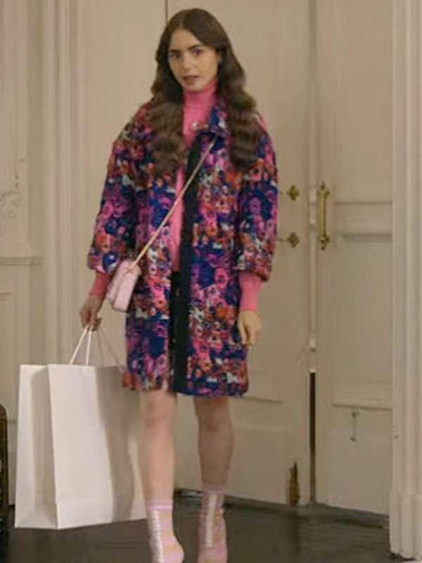 Emily In Paris TV Series Emily Coopers Floral Wool Coat