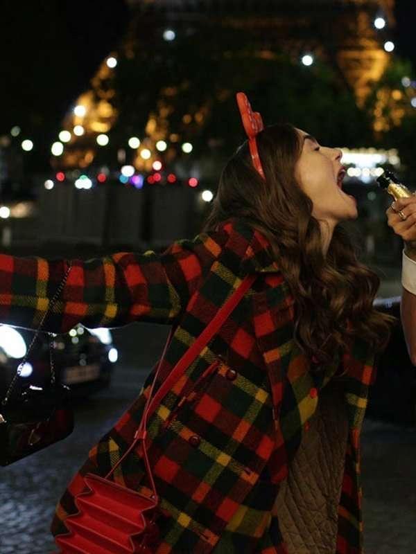 Emily-in-Paris-Lily-Collins-Plaid-Coat