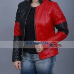 Harley Quinn Red Leather Jacket