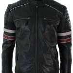 Men's Biker Cafe Racer Black Leather Jacket