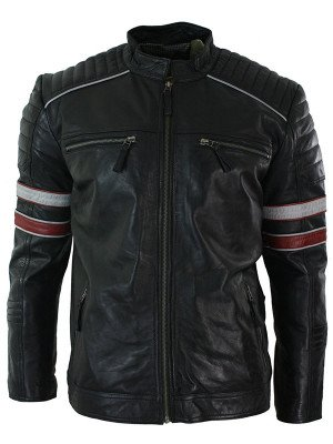 Cafe Racer Motorcycle Black Jacket with Red & White Stripes
