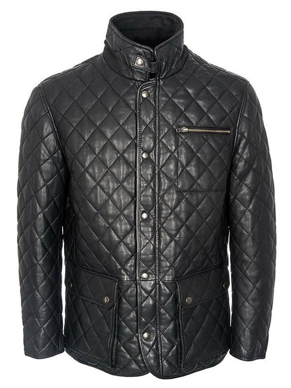 Men's Black Quilted Style Leather Jacket